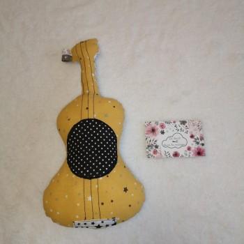 "Décoration ""guitare"" jaune"