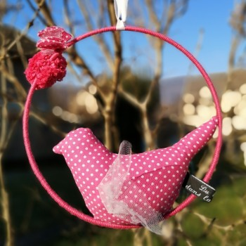"""Décoration """"oiseau"""" rose à pois"""