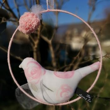 """Décoration """"oiseau"""" roses"""