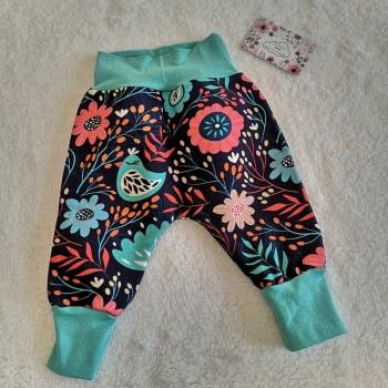 """Pantalon """"fleurs folk"""" 6/9 mois"""